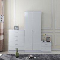 High Gloss Trio Bedroom Furniture Set - White