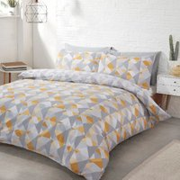 Soho Geometric Duvet Cover and Pillowcase Set - Ochre / Double