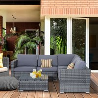 Garden Sofa Set with Storage Box and Bench Chairs  - Grey