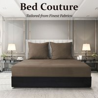 Velvet Flannel Fitted Bed Sheet King - Cappuccino