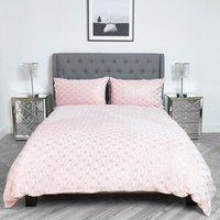 Geometric Metallic Fleece Duvet and Pillow Case Set - Rose / Double