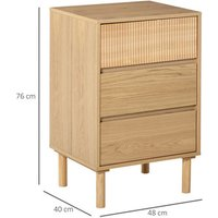 3 Drawer Storage Cabinet Bedside Table  - Nature Wood Effect