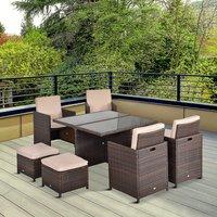 9 Piece Rattan Dining Set Garden Furniture - Brown