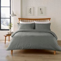 Waffle Stripe 200 Thread Count Duvet Cover and Pillowcase Set - Charcoal / Double