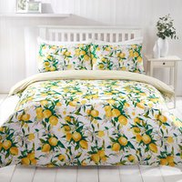 Siciliana Lemon Duvet Cover and Pillowcase Set - Yellow / Double