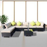8 Piece Rattan Sofa Garden Furniture Set - Black