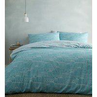 Old Town Duvet And Pillowcase Set - Blue / Double