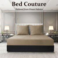Velvet Flannel Fitted Bed Sheet King - Golden Beige