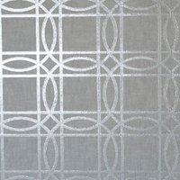 Geometric Kiss Foil Wallpaper - Grey & Silver
