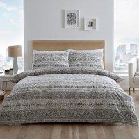 Bora Stripe 180 Thread Count Duvet Cover and Pillowcase Set - Grey / Single