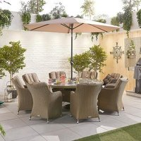 Camilla 8 Seat Round Dining Set - Willow