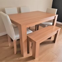 Modern Wooden Oak Dining Table with Chairs and Bench