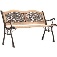 Iron Wood Garden Bench with Floral Back - Brown
