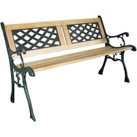 BIRCHTREE 3 Seater Cross Lattice and Slat Style Garden Bench - Natural