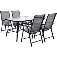 Outdoor Coffee Table and Chairs Bistro Set - Black / 150cm