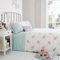 Victoria Rose Duck Egg Duvet Cover and Pillowcase Set - Duck Egg / King
