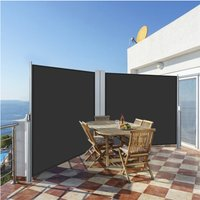 6x1.8m Double-sided Retractable Side Awning - Dark Grey