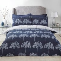 Trees Duvet Cover and Pillowcase Set - Navy / Double