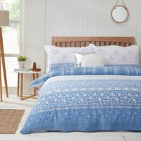 Keats Duvet Cover and Pillowcase Set - Blue / Double