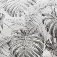 Tropical Monochrome Print Duvet Cover and Pillowcase Set - Double