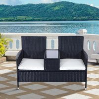 PE Rattan Duo Seat Table Bench With Padded Cushions - Black