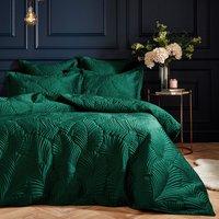 Quilted Velvet Duvet Cover Set - Green / 200cm / Double