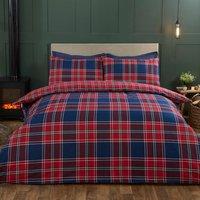 Kinross Check Duvet Cover and Pillowcase Set - Red/Blue / Super King