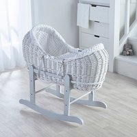 White Dimple Pod Moses Basket with Grey Little Gem Rocking Stand  - White