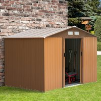 9 x 6FT Outdoor Garden Roofed Metal Storage Shed  - Yellow