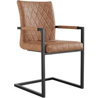Pair of Diamond Stitch Carver Chairs With Metal Legs - Tan