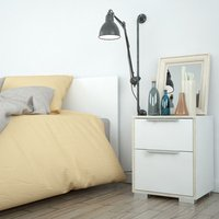 Mia Bedside Two Drawers  - White and Oak