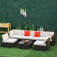 7 Piece Rattan Patio Furniture Set - Beige