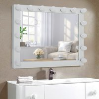 Large Vanity Tabletop Makeup Mirror with Dimmable Light - White