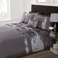 Velvet Stripe Duvet Cover and Pillowcase Set - Charcoal / King