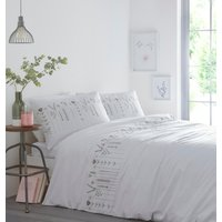 Molly Duvet Cover and Pillowcase Set - Green/Pink / Super King
