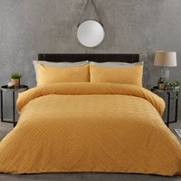Kali Tufted Cut Out Duvet Cover and Pillowcase Set - Ochre / King