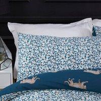 Leopard Motif Duvet and Pillowcase Set - Teal / Single