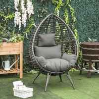 Rattan Wicker Teardrop Chair - Grey