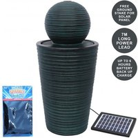 Round Ball Solar Water Feature With Aquatic Cleaner - Black