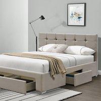 Cream Plush Velvet Upholstered Fabric 4 Dawer Bed Frame - Double
