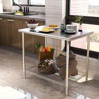 Kitchen Wire Base Work Table - Silver / 90cm