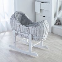 Grey Dimple White Pod Moses Basket with Little Gem Rocking Stand - Grey