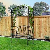 Garden Metal Arch Arbour with Bench Love Seat - Matte Black