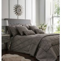 Orlando Quilted Throw Set - Charcoal Grey