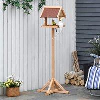Wooden Bird Feeder with Freestanding Cross shaped Support Feet - Natural