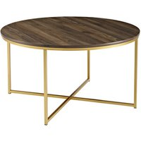 Rosa Round Coffee Table - Walnut and Gold