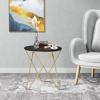 Wooden Metal Round Coffee Table  - Black and Gold