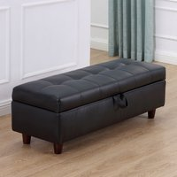 PU Leather Ottoman Storage Bench - Black