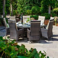 Ruxley 8 Seater Rattan Round Dining Set - Brown