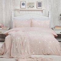 Stars Foil Fleece Duvet Cover and Pillowcase Set - Blush / Double